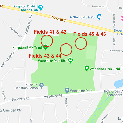 Map to Woodbine fields